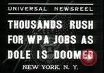 Image of unemployed men seek WPA relief jobs New York City USA, 1935, second 5 stock footage video 65675076839