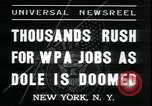 Image of unemployed men seek WPA relief jobs New York City USA, 1935, second 8 stock footage video 65675076839