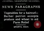 Image of American barber accepts vegetable barter for haircuts Sparta Michigan USA, 1930, second 1 stock footage video 65675076852