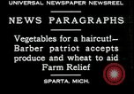 Image of American barber accepts vegetable barter for haircuts Sparta Michigan USA, 1930, second 2 stock footage video 65675076852