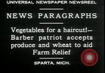 Image of American barber accepts vegetable barter for haircuts Sparta Michigan USA, 1930, second 3 stock footage video 65675076852