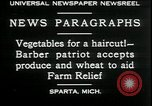 Image of American barber accepts vegetable barter for haircuts Sparta Michigan USA, 1930, second 4 stock footage video 65675076852