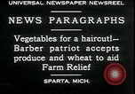 Image of American barber accepts vegetable barter for haircuts Sparta Michigan USA, 1930, second 5 stock footage video 65675076852