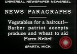 Image of American barber accepts vegetable barter for haircuts Sparta Michigan USA, 1930, second 6 stock footage video 65675076852