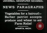 Image of American barber accepts vegetable barter for haircuts Sparta Michigan USA, 1930, second 8 stock footage video 65675076852