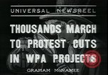 Image of protest against WPA layoffs during Depression New York City USA, 1937, second 1 stock footage video 65675076854