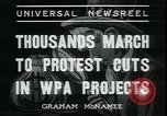 Image of protest against WPA layoffs during Depression New York City USA, 1937, second 2 stock footage video 65675076854