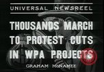 Image of protest against WPA layoffs during Depression New York City USA, 1937, second 4 stock footage video 65675076854