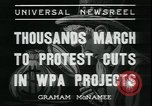 Image of protest against WPA layoffs during Depression New York City USA, 1937, second 5 stock footage video 65675076854