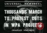 Image of protest against WPA layoffs during Depression New York City USA, 1937, second 6 stock footage video 65675076854