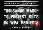 Image of protest against WPA layoffs during Depression New York City USA, 1937, second 7 stock footage video 65675076854