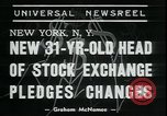 Image of William Martin President of New York Stock Exchange New York City USA, 1938, second 2 stock footage video 65675076858