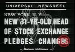 Image of William Martin President of New York Stock Exchange New York City USA, 1938, second 3 stock footage video 65675076858