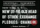 Image of William Martin President of New York Stock Exchange New York City USA, 1938, second 4 stock footage video 65675076858