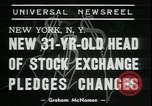 Image of William Martin President of New York Stock Exchange New York City USA, 1938, second 5 stock footage video 65675076858