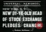 Image of William Martin President of New York Stock Exchange New York City USA, 1938, second 6 stock footage video 65675076858