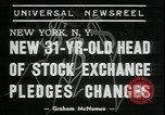 Image of William Martin President of New York Stock Exchange New York City USA, 1938, second 7 stock footage video 65675076858