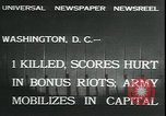 Image of bonus marchers expelled Washington DC, 1932, second 2 stock footage video 65675076860