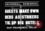 Image of hotel staff strike San Francisco California USA, 1937, second 8 stock footage video 65675078159